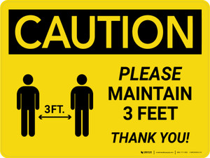 Caution: Please Maintain 3 Feet with Icon Landscape - Wall Sign