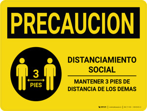 Caution Precaucion: Social Distancing 3ft Spanish with Icon Landscape - Wall Sign
