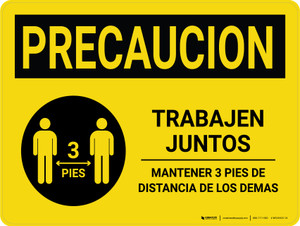 Caution Precaucion: Work Together Keep 3ft Spanish with Icon Landscape - Wall Sign