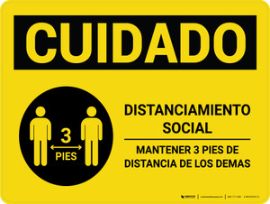 Caution: Social Distancing 3ft Spanish with Icon Landscape - Wall Sign