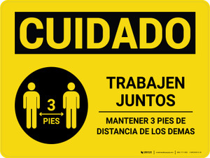 Caution: Work Together Keep 3ft Distance Spanish with Icon Landscape - Wall Sign