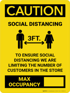 Caution: 3ft Social Distancing Max Occupancy with Icon Portrait - Wall Sign