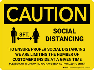 Caution: 3ft Social Distancing We Are Limiting the Number of Customers with Icon Landscape - Wall Sign