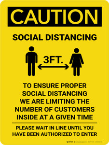 Caution: 3ft Social Distancing We Are Limiting the Number of Customers with Icon Portrait - Wall Sign