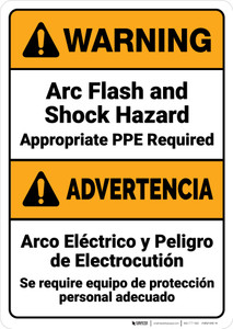 Warning: Arc Flash Shock Hazard PPE Required Bilingual Spanish ANSI - Wall Sign
