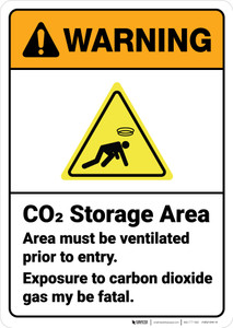 Warning: Co2 Storage Area Ventilated Prior To Entry ANSI - Wall Sign