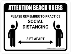 Attention Beach Users Social Distancing 3ft Landscape - Wall Sign