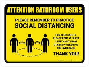 Attention: Bathroom Users Remember Social Distancing with 3ft Icon Landscape - Wall Sign