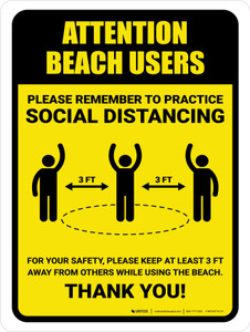 Attention: Beach Users Remember Social Distancing with 3ft Icon Portrait - Wall Sign