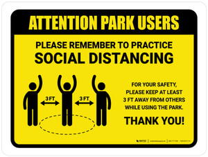 Attention: Park Users Remember Social Distancing with 3ft Icon Landscape - Wall Sign