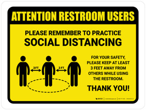Attention: Restroom Users Remember Social Distancing with 3ft Icon Landscape - Wall Sign