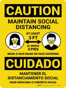Caution: Maintain Social Distancing 3ft Bilingual Portrait - Wall Sign