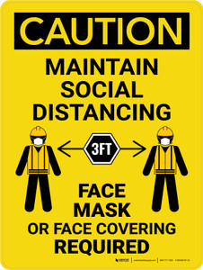 Caution: Maintain Social Distancing 3ft - Face Mask Required with Icons Portrait - Wall Sign