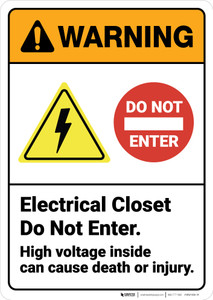 Warning: Electrical Closet Do Not Enter High Voltage ANSI - Wall Sign