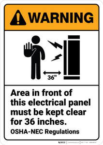 Warning: Electrical Panel Keep Clear Inches ANSI - Wall Sign