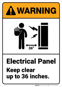 Warning: Electrical Panel Keep Clear Upto Inches - Wall Sign