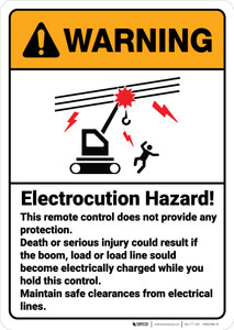 Warning: Electrocution Hazard Electrical Lines Remote Control ANSI - Wall Sign