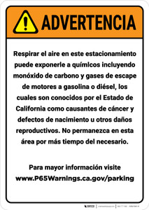 Warning: Enclosed Parking Facility Spanish Prop 65 - Wall Sign