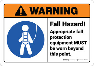 Warning: Fall Hazard Wear Appropriate PPE ANSI - Wall Sign