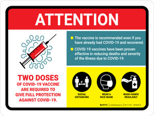 Attention: 2 Doses Covid-19 Vaccinations Required To Give Full Protection Landscape - Wall Sign