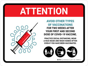 Attention: Avoid Vaccination Of Other Kinds Of Vaccinations For Two Weeks Landscape - Wall Sign