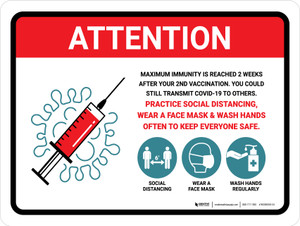 Attention: Covid-19 Vaccinations Max Immunity Is Reached 2 Weeks After 2nd Vaccination Landscape - Wall Sign