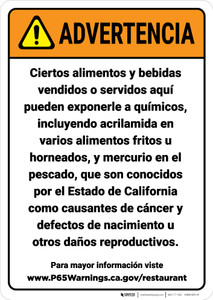Warning: Food And Non Alcoholic Beverage Spanish Prop 65 - Wall Sign