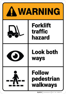Warning: Forklift Traffic Hazard Look Both Ways Follow Walkways ANSI - Wall Sign