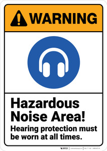 Warning: Hazardous Noise Area Hearing Protection Must Be Worn ANSI - Wall Sign