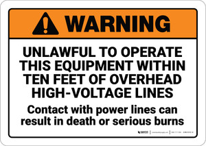 Warning: Unlawful to Operate This Equipment Within 10 Feet ANSI - Wall Sign