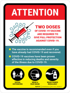 Attention: 2 Doses Covid-19 Vaccinations Required Portrait - Wall Sign