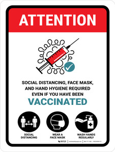 Attention: Face Mask Required Even If You Have Been Vaccinated Portrait - Wall Sign