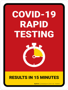 Covid-19 Rapid Testing Red Portrait - Wall Sign