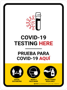 Covid-19 Testing Here Bilingual Portrait - Wall Sign