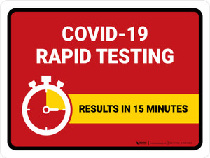 Covid-19 Rapid Testing Red Landscape - Wall Sign