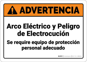 Warning: Arc Flash Shock Hazard PPE Required Spanish ANSI - Wall Sign