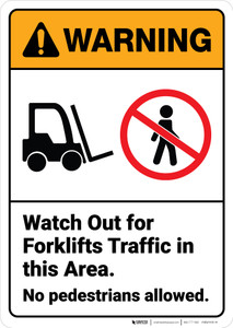 Warning: Watch Out For Forklift Traffic ANSI - Wall Sign