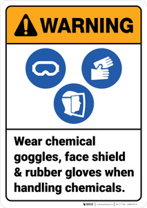 Warning: Wear Chemical Goggles Face Shield Rubber Gloves ANSI - Wall Sign
