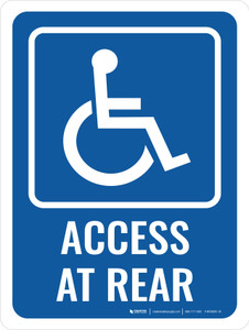 Access At Rear Portrait - Wall Sign