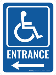 Accessible Entrance (Left Arrow) with Icon Portrait - Wall Sign