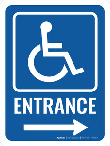 Accessible Entrance (Right Arrow) with Icon Portrait - Wall Sign