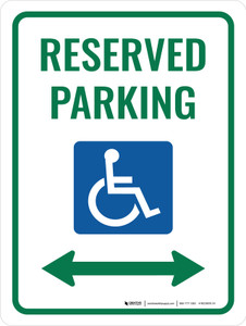 Accessible Reserved Parking (Double Arrow) Portrait - Wall Sign