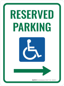 Accessible Reserved Parking (Right Arrow) Portrait - Wall Sign