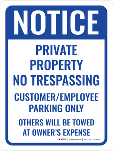 Customer Employee Parking Only Portrait - Wall Sign
