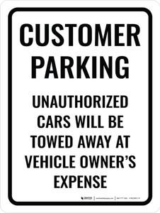Customer Parking Violators Towed Portrait - Wall Sign