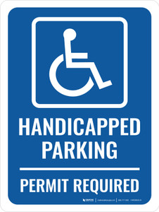 Handicapped Parking Permit Required Portrait - Wall Sign