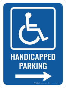 Handicapped Parking (Right Arrow) Portrait - Wall Sign