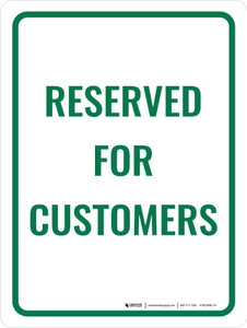 Reserved for Customers - Wall Sign