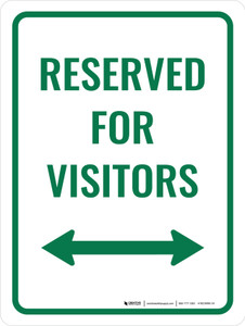 Reserved For Visitors (Double Arrow) Portrait - Wall Sign