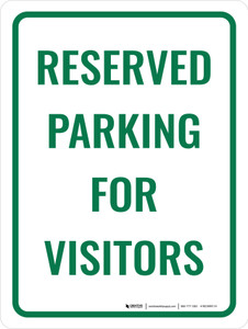 Reserved Parking For Visitors Portrait - Wall Sign